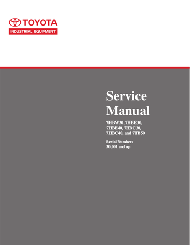 Toyota 7HBC30, 7HBC40, 7HBE30, 7HBE40, 7HBW30, 7TB50 Pallet Walkie (SN.30001-) Service Repair Manual (CL390-05)