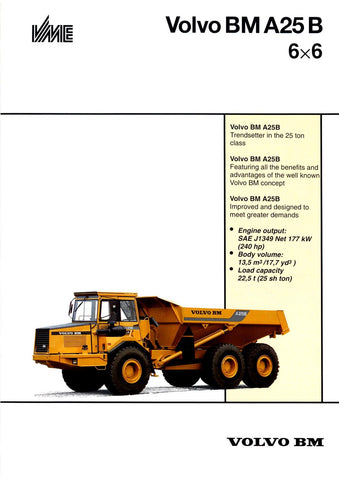 VOLVO BM A25B ARTICULATED HAULER SERVICE REPAIR MANUAL