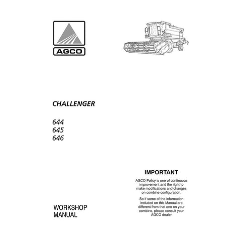 Challenger 644, 645, 646 Combine Harvester Workshop Service Repair Manual