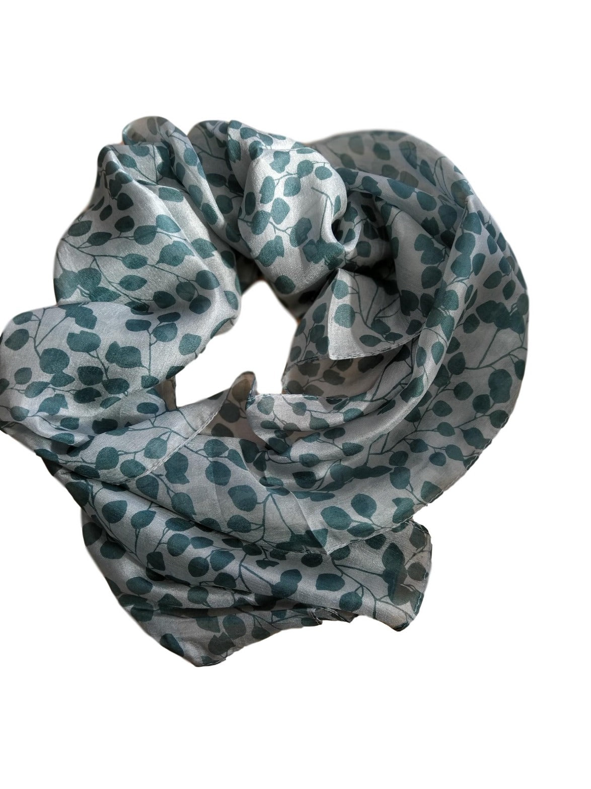 SS003 Grey leaf silk scarf