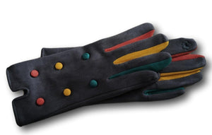 GL010 Grey Coloured finger with buttons glove