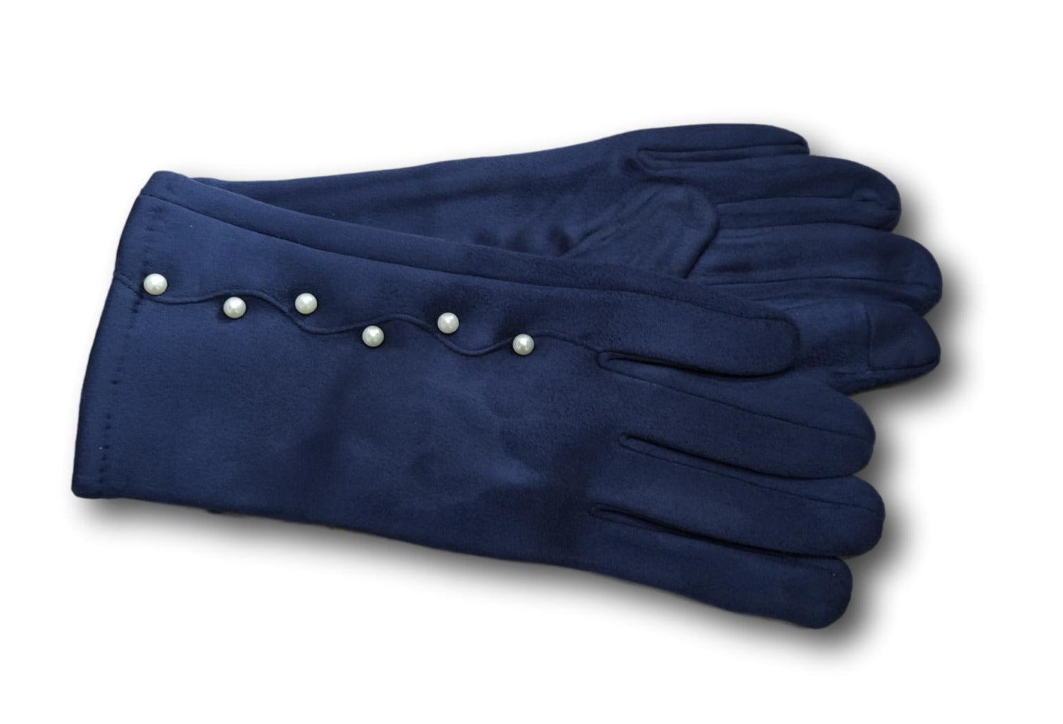 GL013 Navy  Faux suede glove with pearls