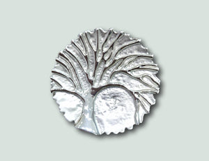 BR031 Magnetic  Silver Tree Brooch
