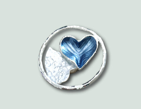 blue heart magnetic brooch