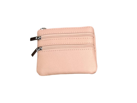 P01 Salmon Pink Small Double Zip Purse