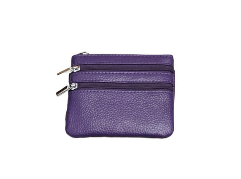 P01 Purple Small Double Zip Purse