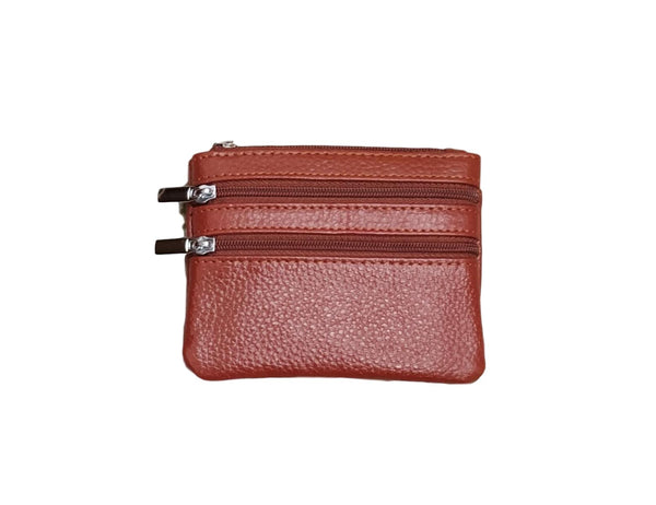 P01 Tan Small Double Zip Purse