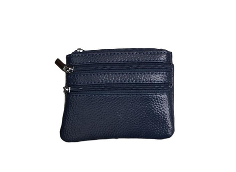 P01 Navy Small Double Zip Purse