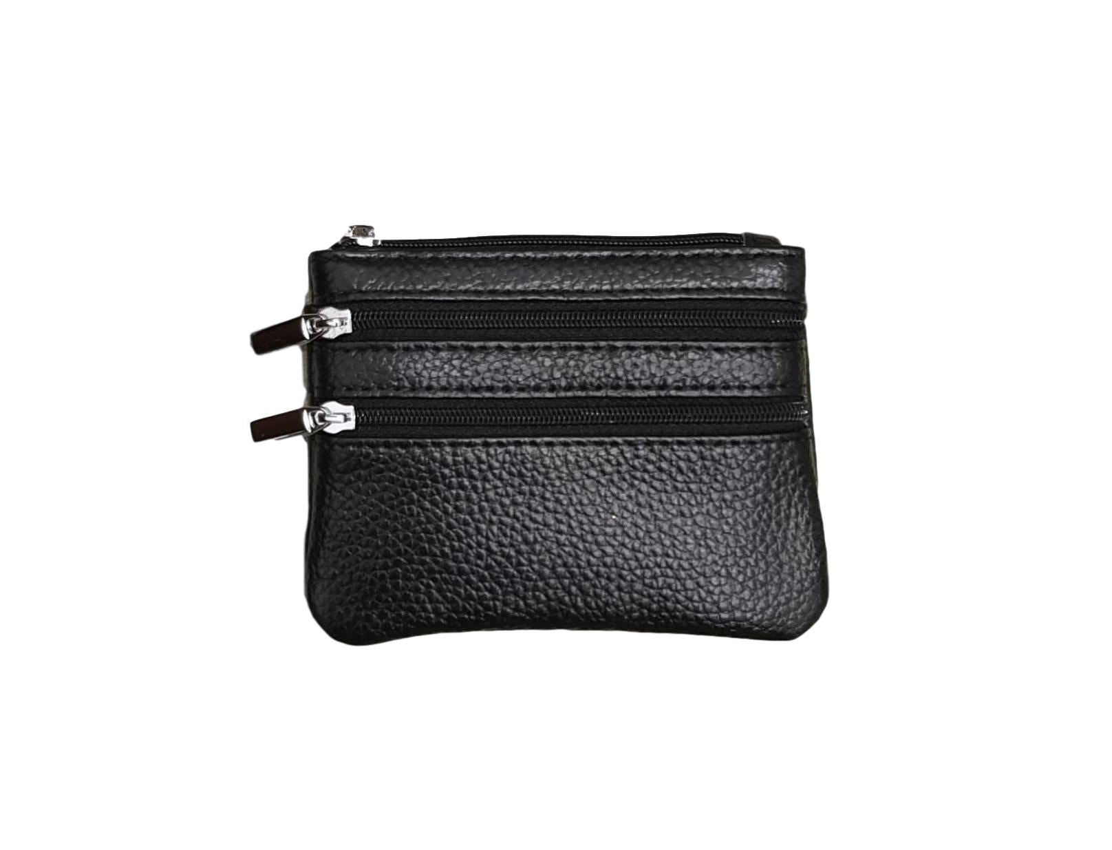 P01 Black Small Double Zip Purse
