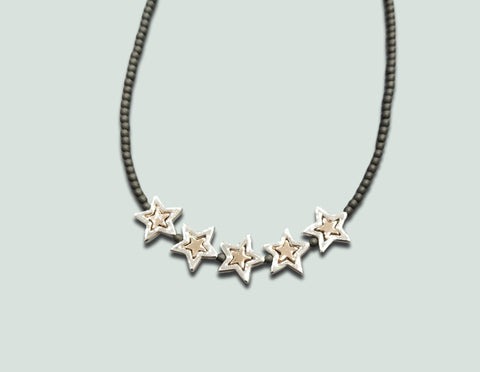 N057 Silver Stars with Rose Gold Center Necklace