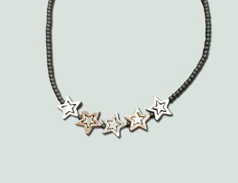 N058 Silver and Rose Gold Stars Necklace