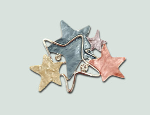 BR042 Coloured Stars  Magnetic Brooch