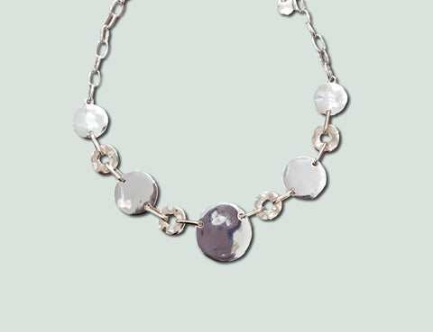 N066 Silver Discs Necklace