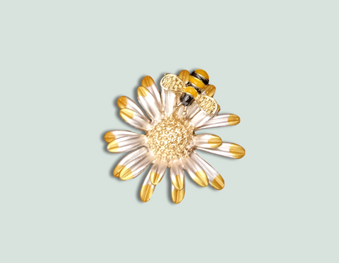 BR056 Flower with Bee Brooch