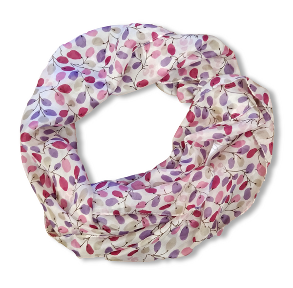 SS031 Cream with Purple Leaves Silk Scarf
