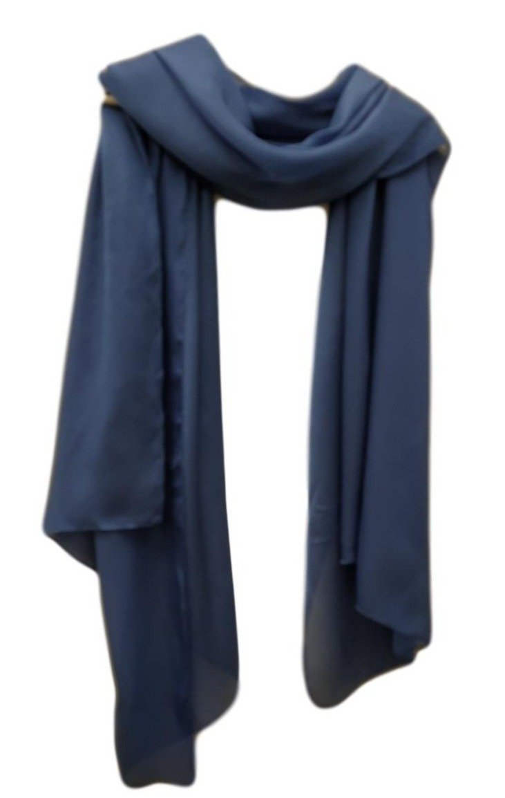 PS006B  Satin  Scarf Denim Blue