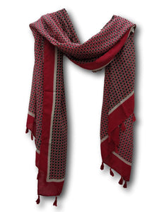 SC038R Geometric scarf in red