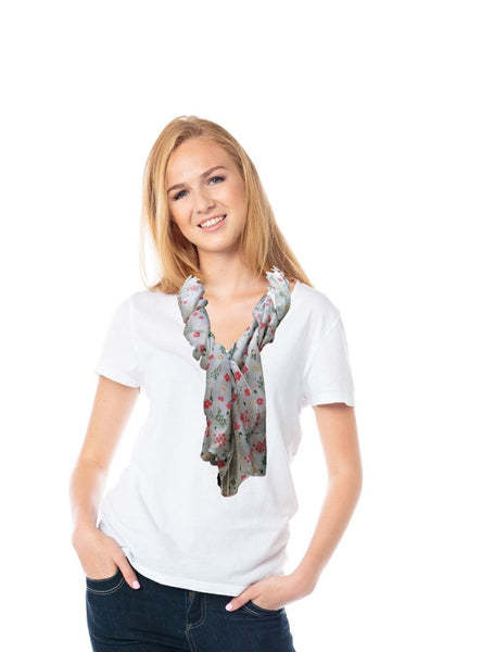 A grey silk scarf with flowers