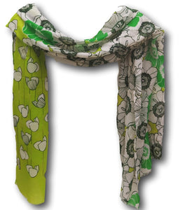 SC068 Green multi scarf