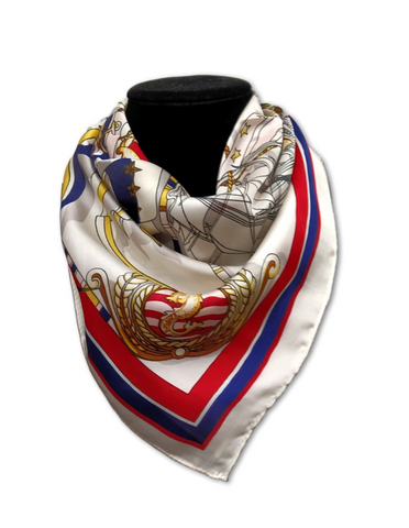 Traditional satin square scarf