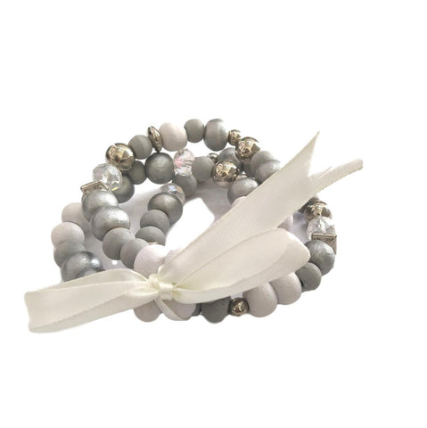 BL35 Bead and bow bracelet grey
