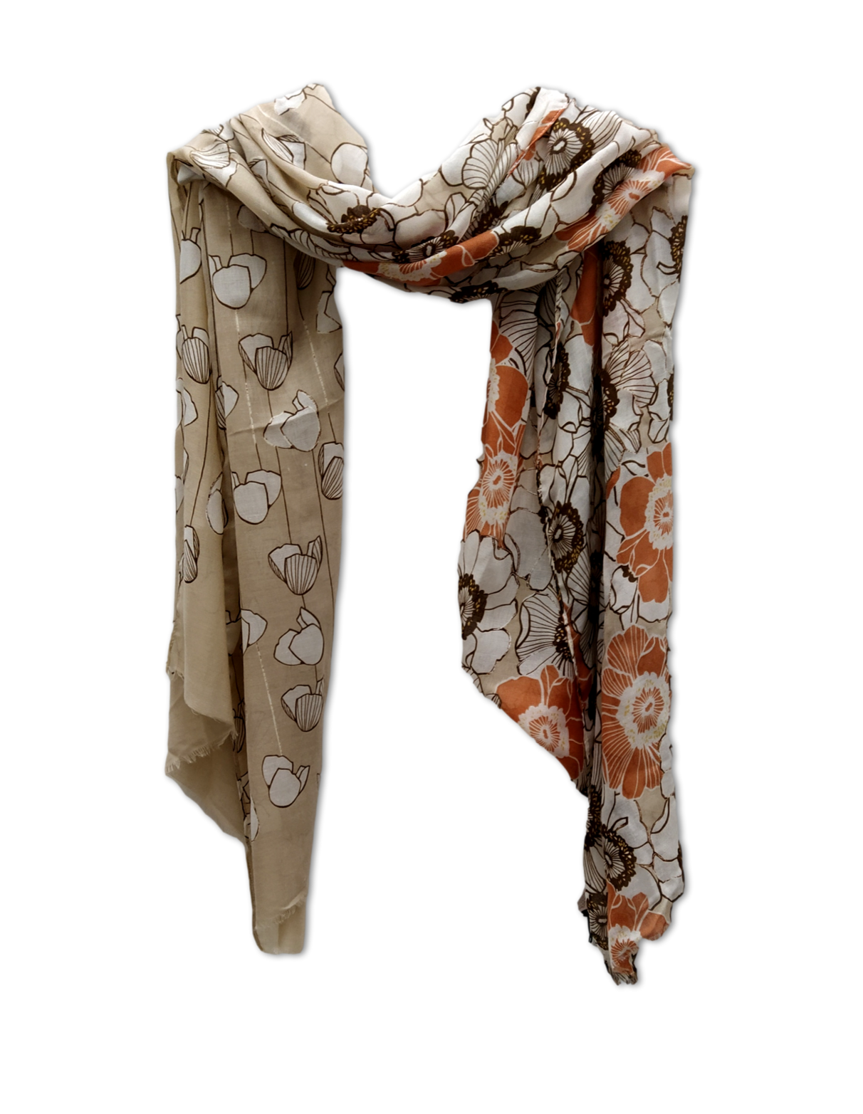 Two design scarf in beige and tan