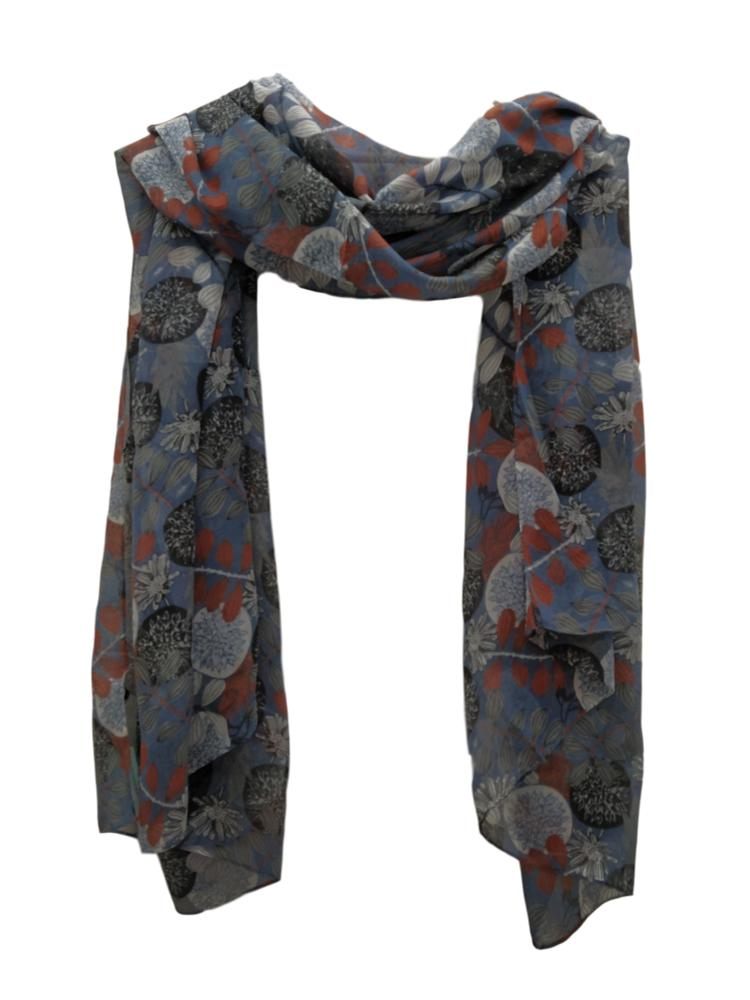 Blue leaves and flowers scarf