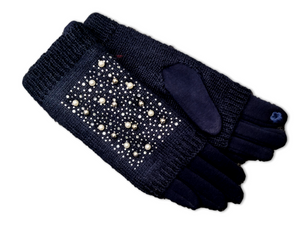 GL018 Navy Double layer knitted glove