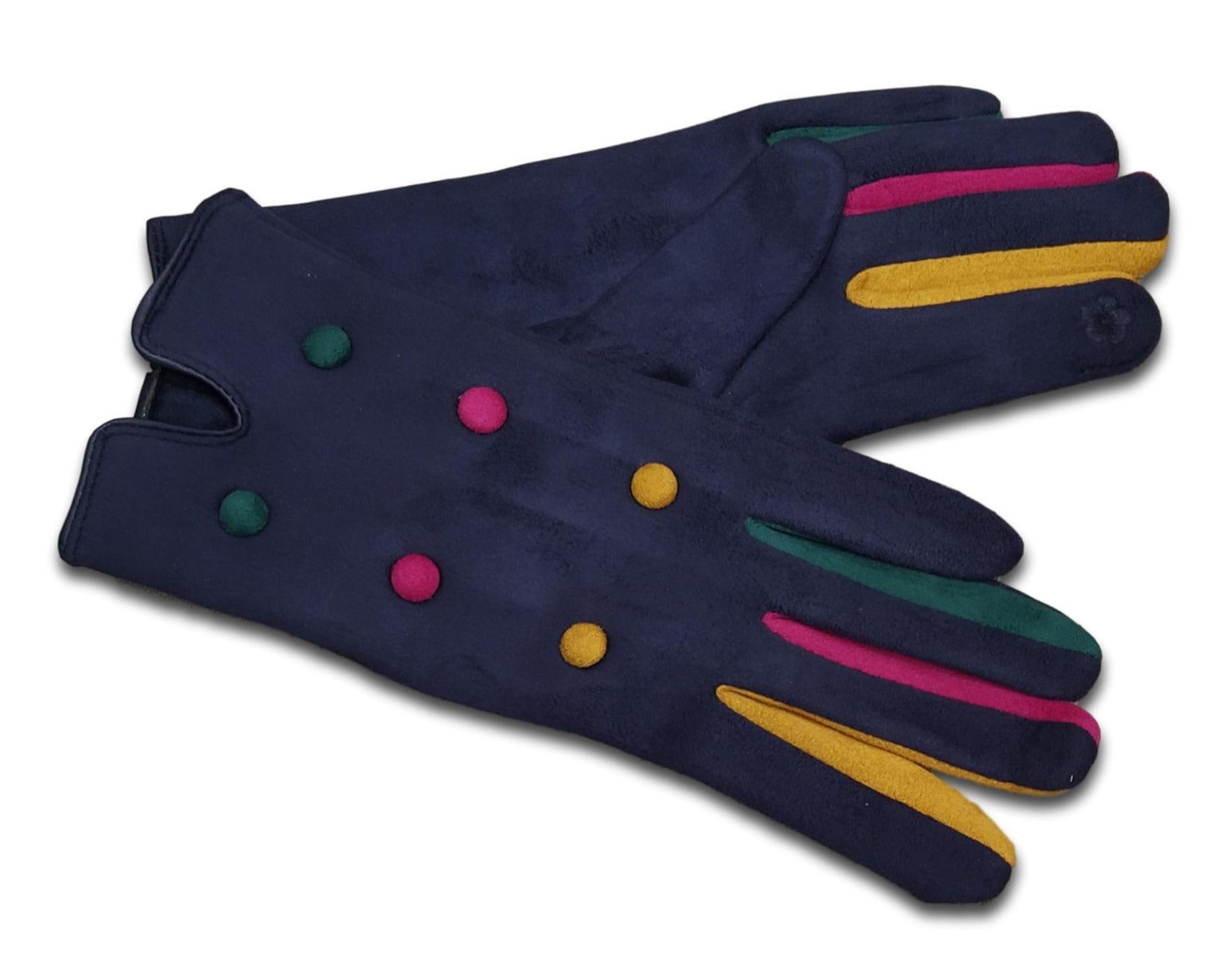 GL010 Navy Coloured finger glove with buttons