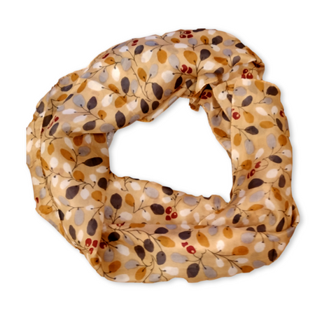 SS029 Pale Gold Leaves Silk Scarf