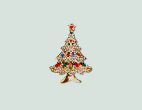 Gold Christmas tree brooch