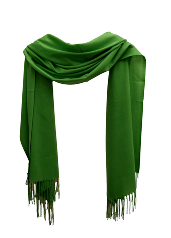 PS011  Green linen look scarf