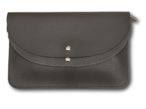 CB09 Textured Grey double flap clutch