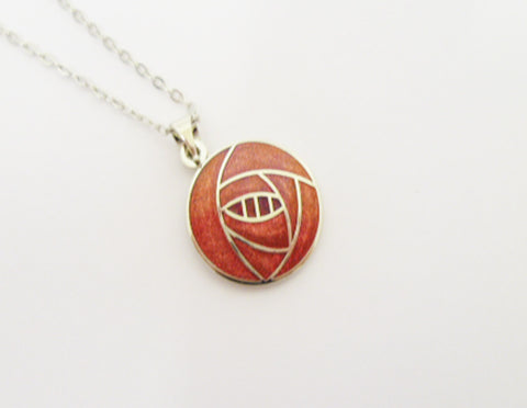N002 Red enamel necklace Necklace