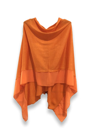 W1 Orange Chiffon Edge Poncho