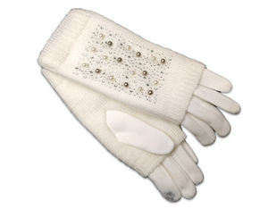 GL018Cream Double layer knitted gloves