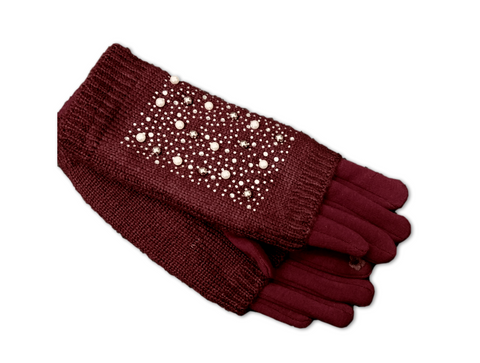 GL018 Burgundy Knitted two layer gloves.