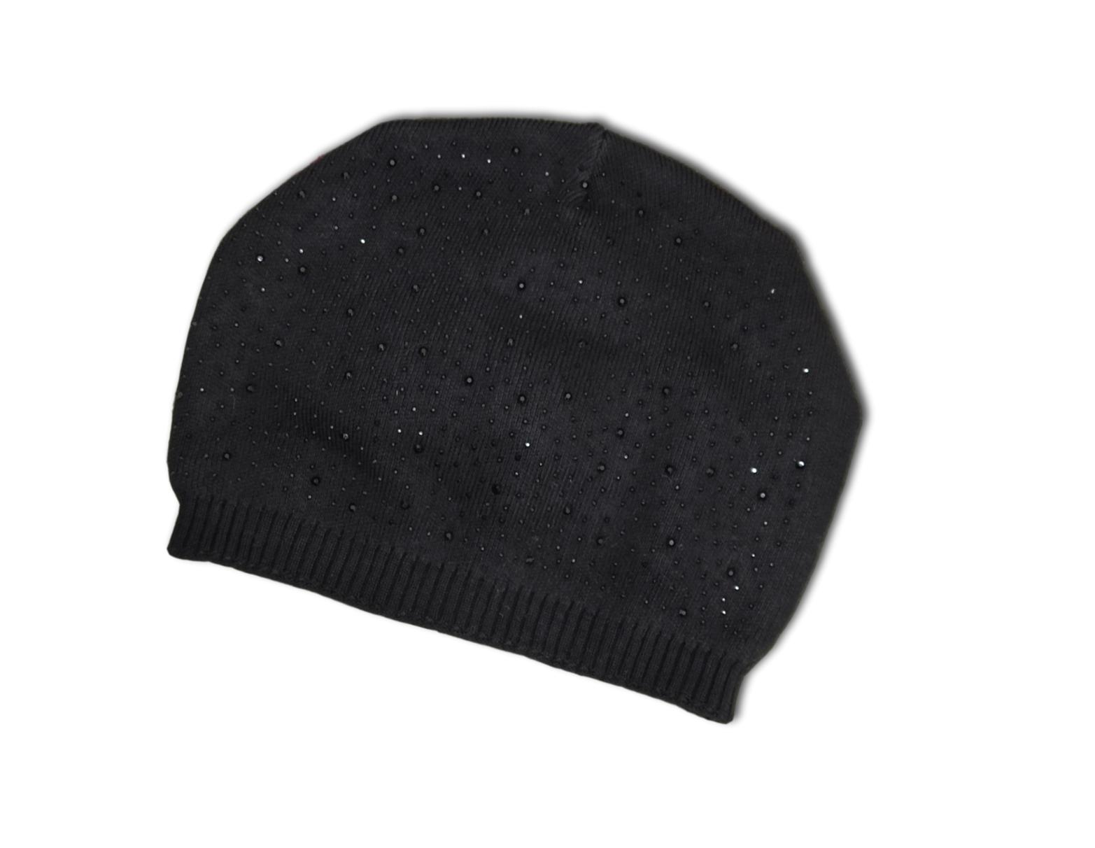 H1 Black Beanie Hat with sparkles.