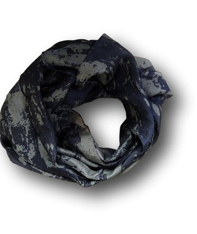 Silk scarf in navy blue and grey
