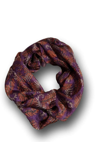 SS018 Purple Flora Silk Scarf