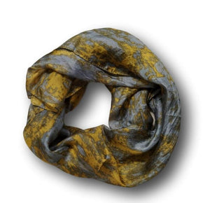 A silk scarf in grey and yellow