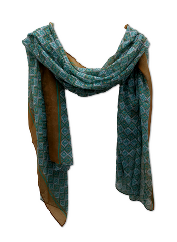 Teal and brown diamonds design scarf