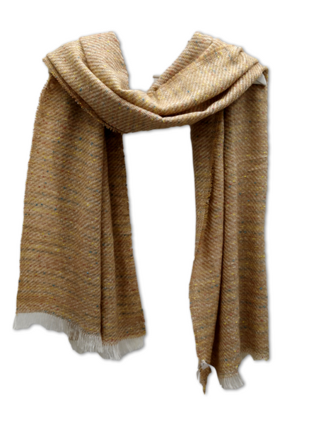 A beautifully soft woven scarf in beige and gold, with flecks on blue and yell
