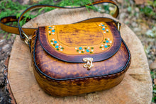 Tooled Latigo Leather Shoulder Bag / Crossbody Purse- Hand-tooled, hand-dyed and hand-stitched