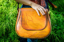 Large Handmade Latigo Leather Shoulder Bag - Hand Tooled Purse with Wheat Design, hand-dyed and hand-stitched