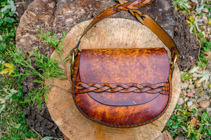 Made to Order - Retro Large Handmade Latigo Leather Shoulder Bag with Braided Strap - Hand-dyed and hand-stitched - Solid Brass hardware