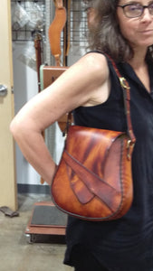 *RESERVED FOR PEARL* -  Handmade Leather Shoulder Bag - Hand-dyed Latigo, hand-stitched - Solid Brass hardware