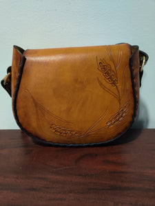 Wheat Tooled Latigo Leather Cross Body Purse / Small Shoulder Bag