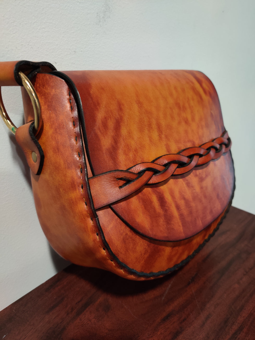 Medium Handmade Latigo Leather Shoulder Bag - Hand-dyed and hand-stitched - Solid Brass hardware with Braided closure