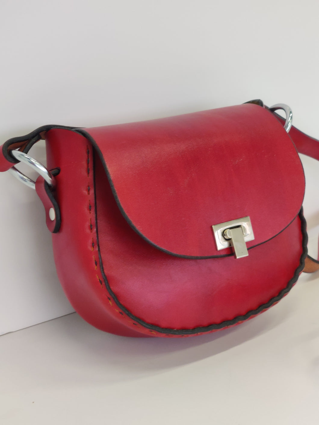Handmade Latigo Leather Cross Body Purse Red/ Small Shoulder Bag Red